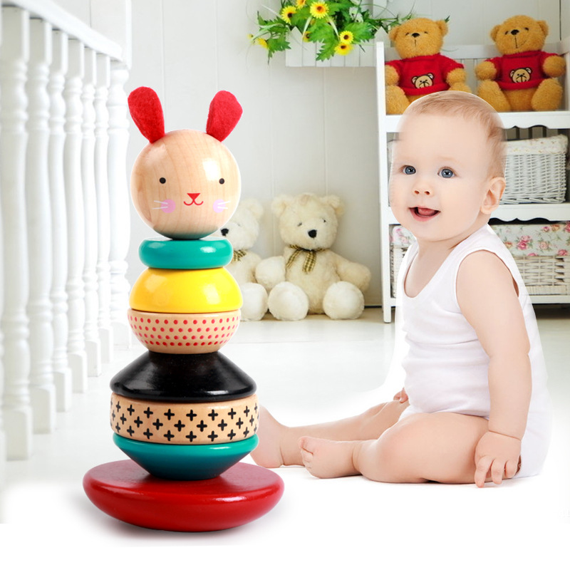 MamimamiHome Baby Wooden Development Toys Woody Cute Rabbit Tumbler Wooden Towers Toy Clown Montessori Toys Building Blocks barchester towers