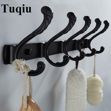 New Arrival Black/White 4-7 Towel Hooks Wall Mounted Robe Hooks,Aluminum Alloy Clothes Hook,Towel Holder,Bathroom hook