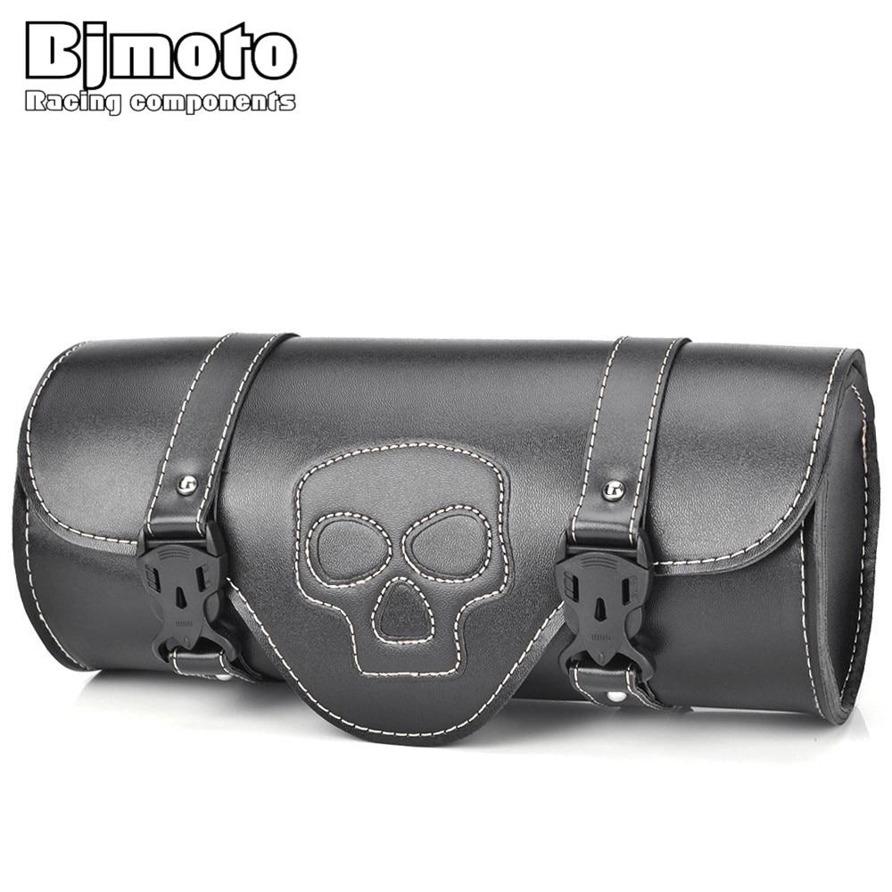 BJMOTO Motorcycle Luggage Bags Black PU Leather Moto Saddlebag Saddle Bag For Harley Sportster Touring Softail Pannier Side Bag