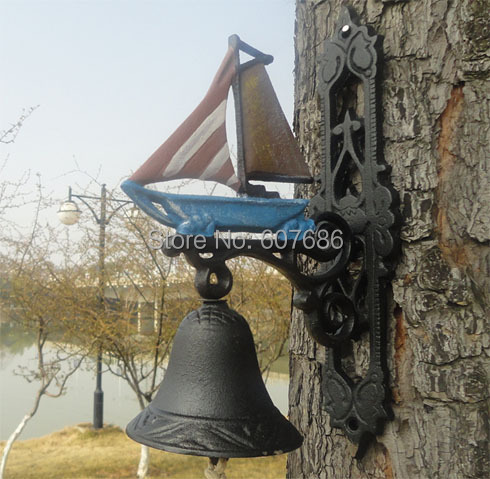 Nautical Cast Iron Wall Mount Sailboat Porch Bell Painted Garden Patio Seashore Sea Decor Sailing Ship Boat Bell Free Shipping