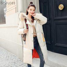 Brieuces winter coat women jackets 2018 female Hooded Outwear woman long parkas Faux fox fur Cotton padded