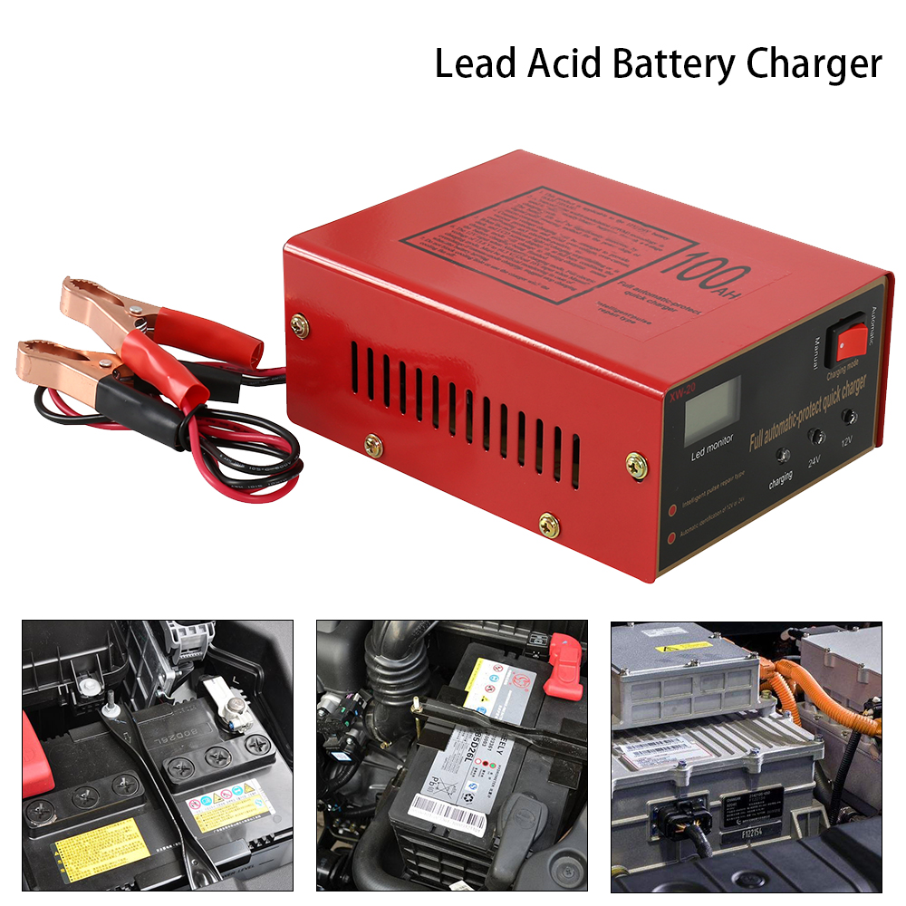 Car Battery Charger 12V/24V 10A 6-105AH Motorcycle Protect Charger Lead Acid Intelligent Pulse Repair Type Fast Battery Charging