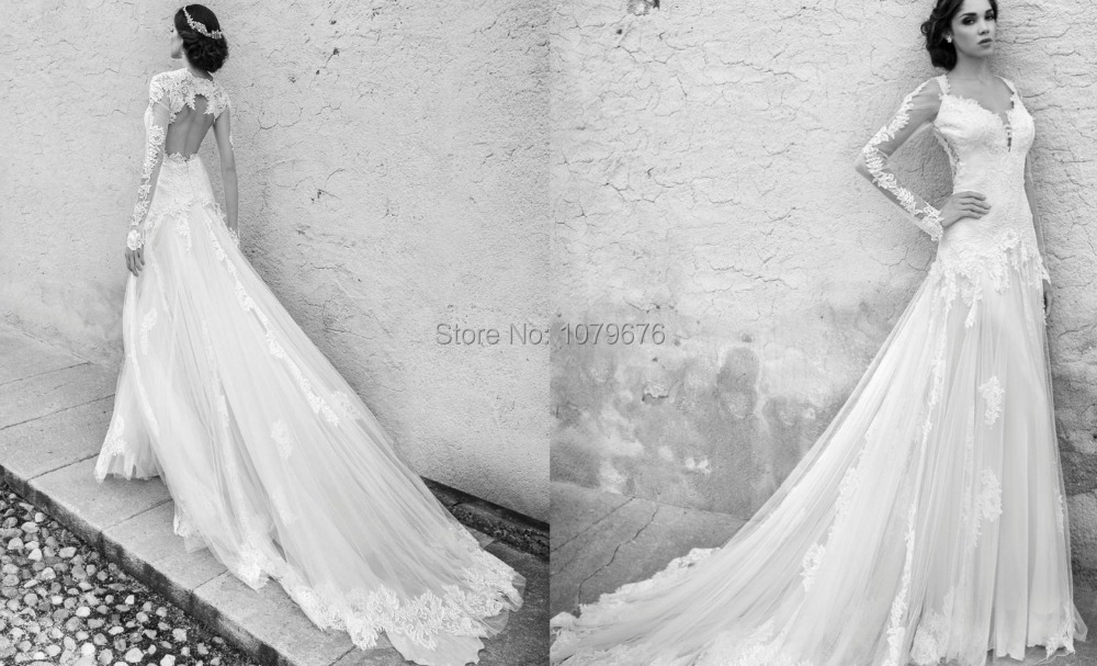 2015 Romantic Boho Wedding Dresses Long Sleeve Lace Chapel