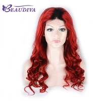 BEAUDIVA Human Hair Wigs For Black Women T1B Red Brazilian Body Wave Remy Lace Front Wig
