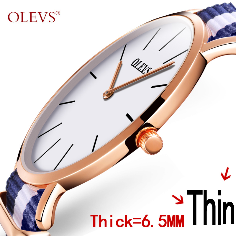 Hot Sale Quartz Men Watches OLEVS Casual Rose Gold Canvas Band Watch Water Resistant Male Wristwatch Relogio Masculino 2017 mige 2017 new hot sale lover man watch rose gold case white casual ultrathin waterproof relogio masculino quartz mans watches
