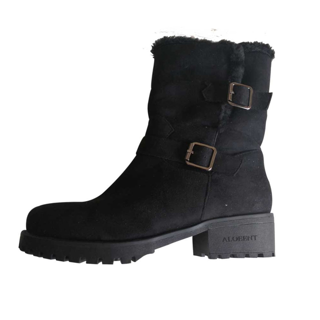 ALOEENT  Korean Version Autumn Winter Central Cylinder Snow Boots Warm For Junior High School Students Buckle Strap Mid-Calf