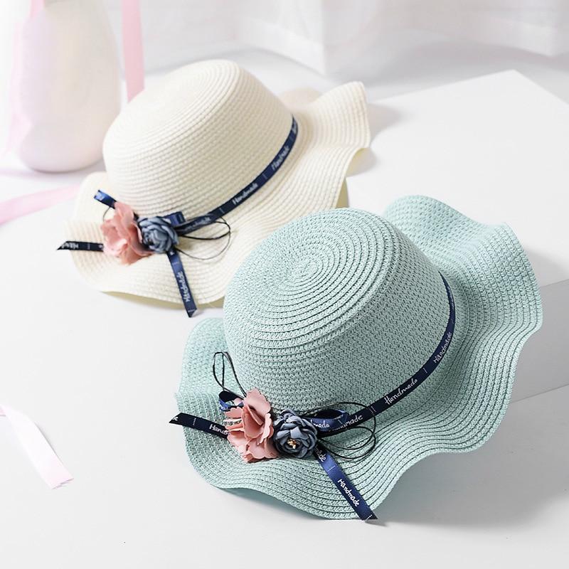 New children's wave brim flowers straw hat Fashion girls seaside shade beach sun hat