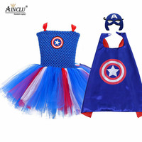 Captain America Cosplay Tutu Dress With Cape Mask Blue Red Super Hero Girls Birthday Party Halloween Costume Kids Clothes 1 Set