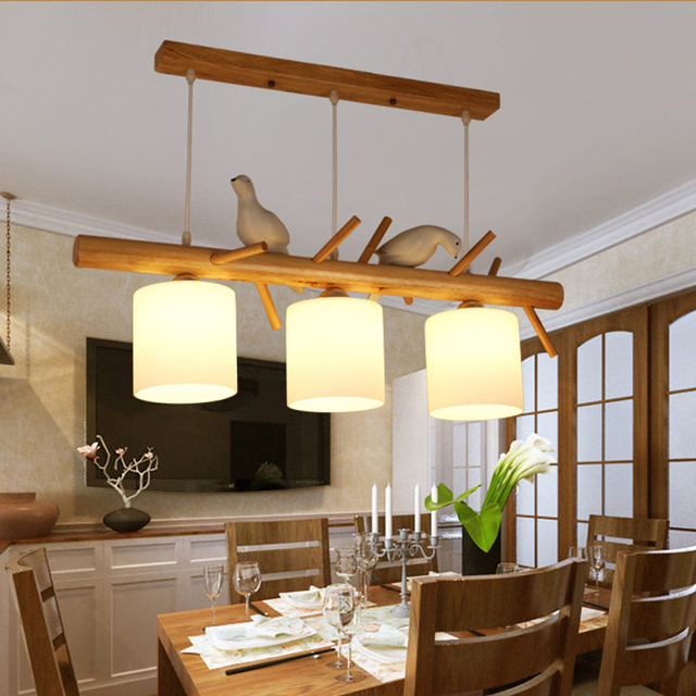 Nordic Modernen Restaurant Hängeleuchte 2/3 Kopf Holz Und Harz Vogel  Anhänger Licht Für Kinder