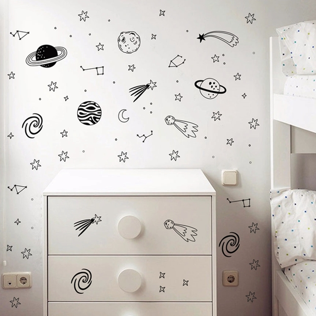 Universe Space Wall Decals Star Planet Vinyl Wall Sticker Nursery Decor Space Adventure Decals Vinyl Mural Kids Room Wall Art