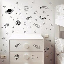 Universe Space Wall Decals Star Planet Vinyl Wall Sticker Nursery Decor Space Adventure Decals Vinyl Mural Kids Room Wall Art(China)