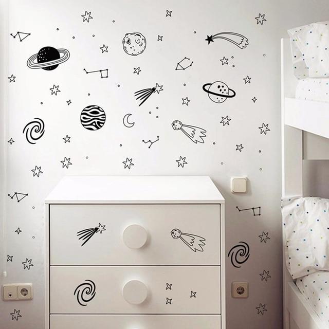 Universum Wandtattoos Sterne Planeten Vinyl Wandaufkleber Kinderzimmer  Dekor Weltraum Abenteuer Decals Vinyl Wandbild Kinderzimmer Wandkunst