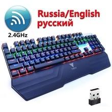 ФОТО Wireless Gaming Mechanical Keyboard Black Blue Switch LED Backlit 24GHz USB Anti-ghosting Teclado  English Russian for Gamer PC