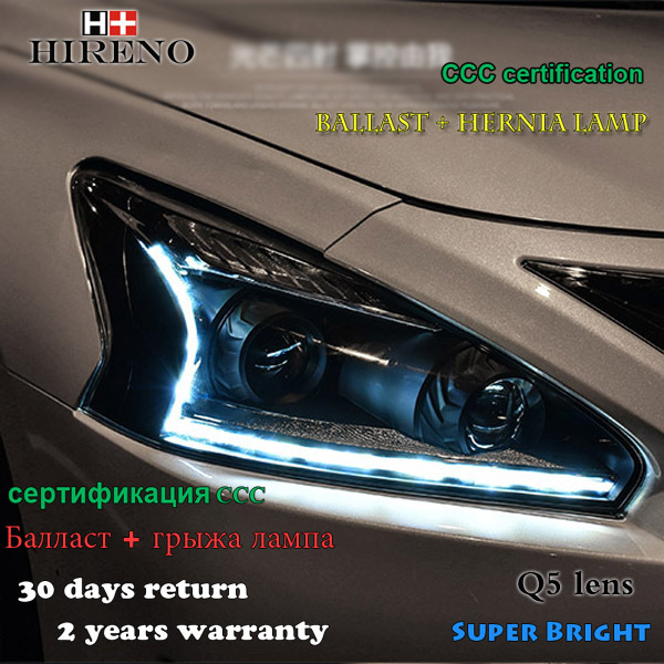 Hireno Headlamp For 2013 2015 Nissan Altima Teana Headlight Assembly LED  DRL Angel Lens Double
