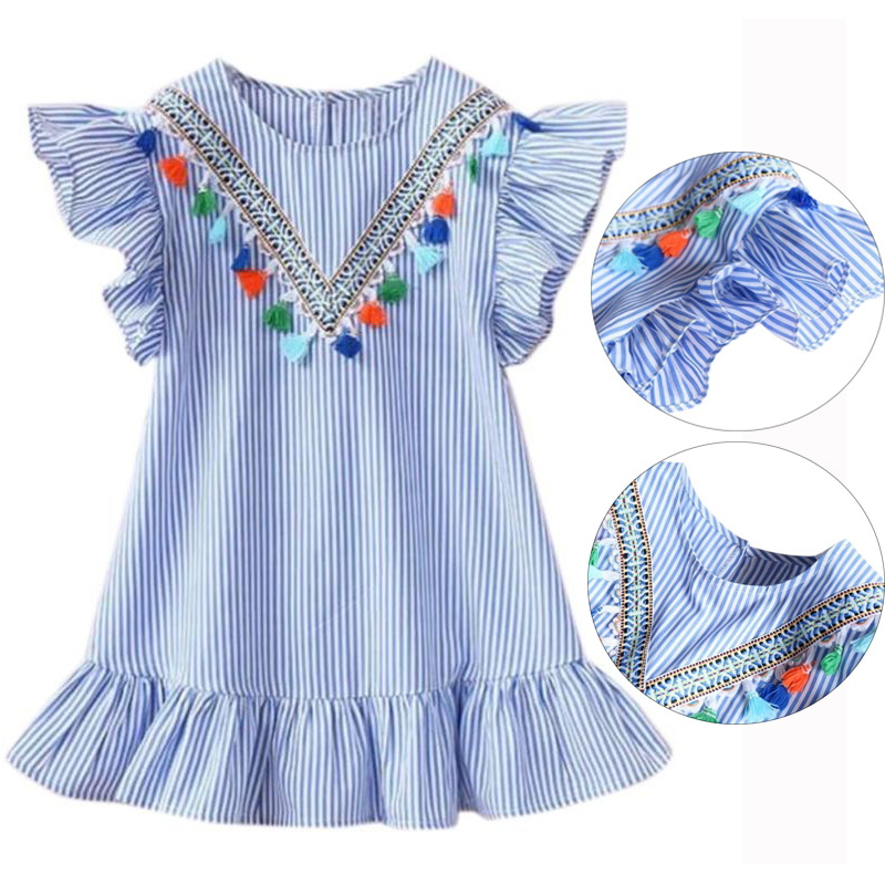 123dbafbe Summer Girls Tassel Flying Sleeve Dresses Stripe Cotton Cute Kids Party  Dresses For Kids Girls Princess