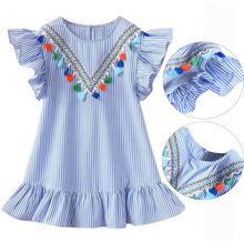 Summer Girls Tassel Flying Sleeve Dresses Stripe Cotton Cute Kids Party Dresses for Kids girls Princess Dress Tops Clothes(China)