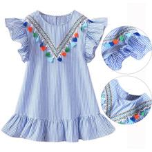 Summer Girls Tassel Flying Sleeve Dresses Stripe Cute Kids Party Dresses for Kids girls Princess Dress Tops Clothes