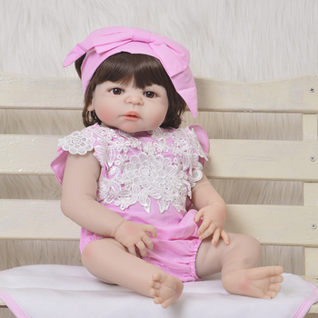 55CM Boneca Reborn full Silicone Vinyl Newborn baby Dolls Bebe realistic Reborn Fashion Doll toys gift for child girls