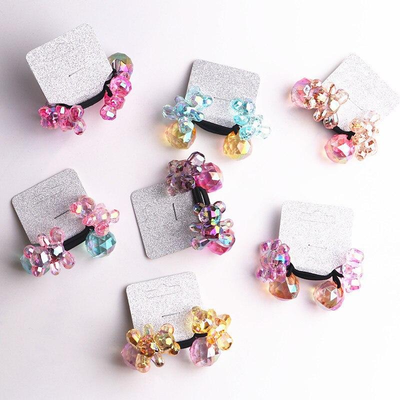 2PCS New Cute Colourful Bear Princess Headwear Kids Elastic Hair Bands Children Hair Ropes Girls Accessories Baby Headdress