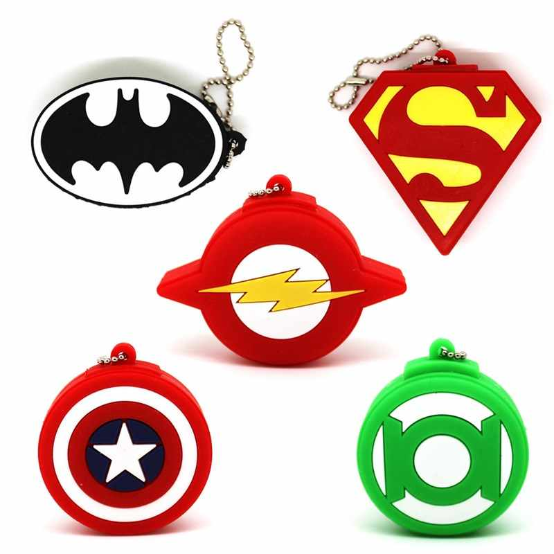 Dos desenhos animados Super Hero/Emblema Do Logotipo USB Flash Drive pendrive 4GB GB GB 32 16 8GB Batman/superman/Capitão 64GB de memory stick U disco Escudo