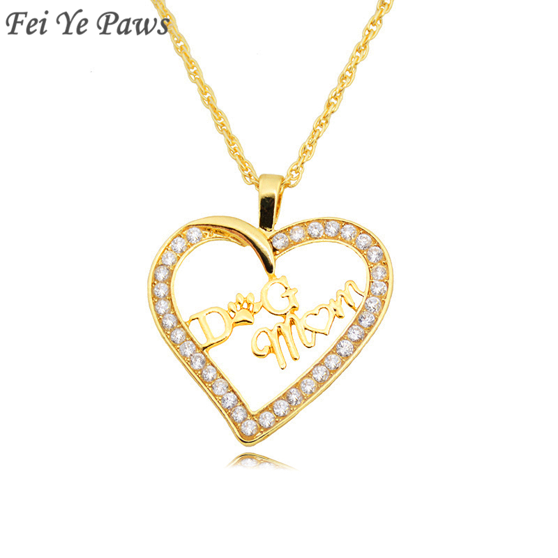 Fei Ye Paws Gold Color Crystal Zircon Dog Mom Heart Pendant Necklaces Dog Mom Long Chain Necklaces Women Gift For Dog Lover image