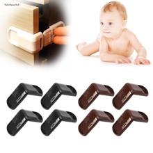4Pcs Baby Child Safety Lock Door Buckle Drawer Cabinets Anti Pinch Hand Protect 4pcs baby safety lock baby kids safety care seguridad bebe children security protection drawer latches anti pinch hand protect