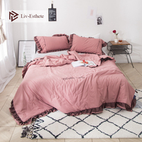 Liv Esthete 1PCS Luxury Beauty Pink Quilt Lace Duvets Comforter Double Queen King Bed Linen As Like Soft Blanket For Girl Gift