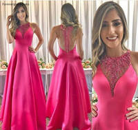 2019 New Arrival Cheap Fuchsia Evening Dress A Line Beaded Satin Long Holiday Wear Pageant Prom Party Gown Custom Made Plus Size
