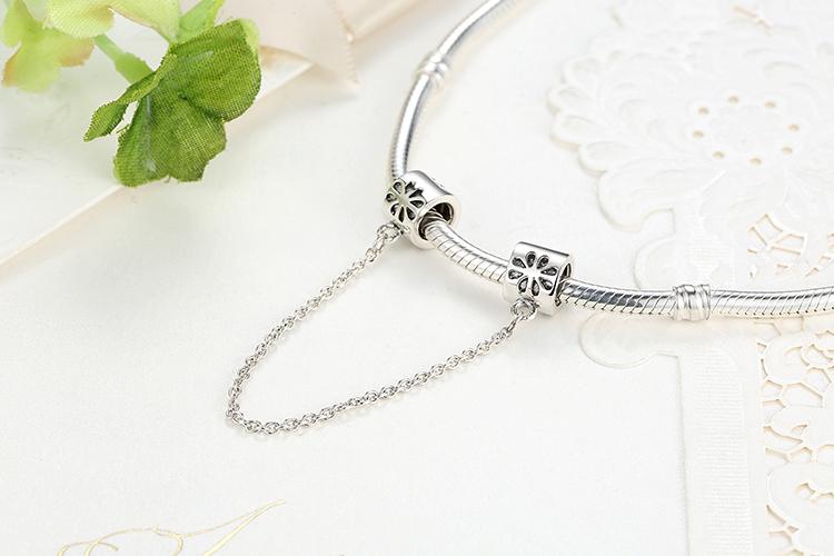 925 Sterling Silver Love Connection Chain Charm Heart Shaped Jewelry Fit Bracelet