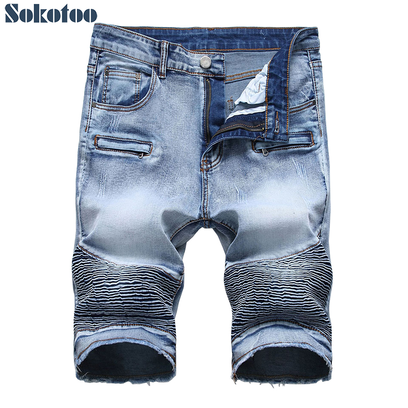 Men's Light Blue Slim Straight Stretch Denim Biker Shorts Fot Moto Plus Big Size Pleated Fringe Jeans Summer Capri