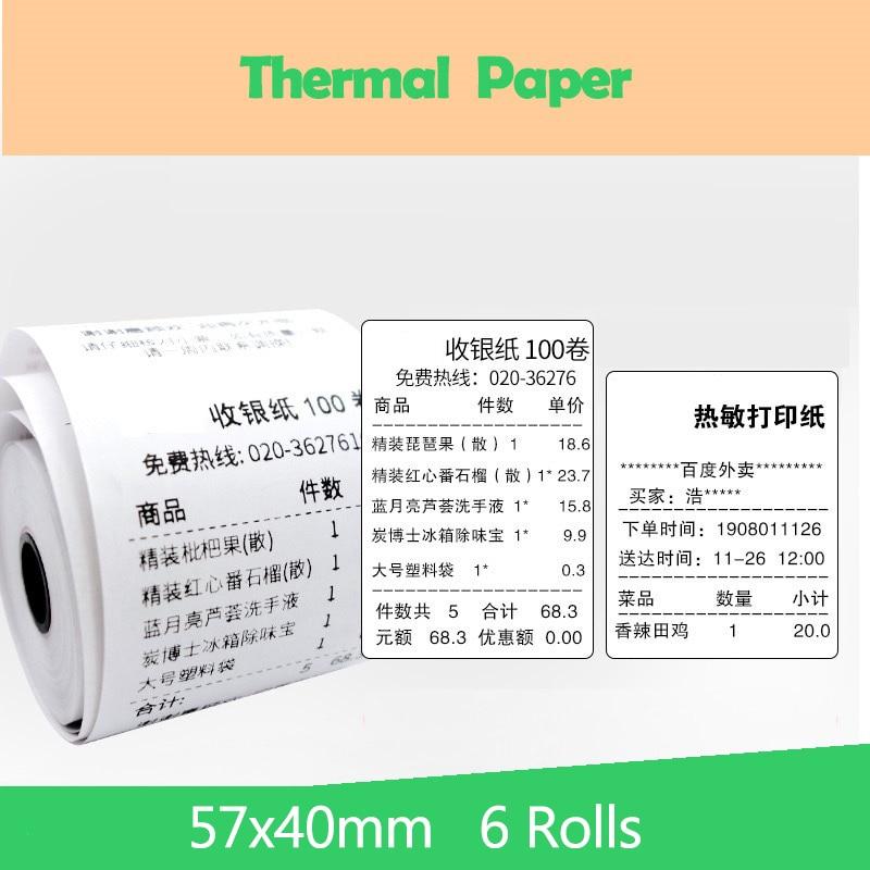 57x40mm 6PCS Thermal Paper Receipt Printer Paper POS Printer 58mm Paper For Mobile POS Mobile Printer Paper