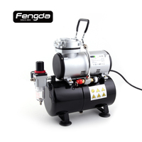 Fengda FD 186 oil free piston compressor AS1203 2 mini air pump tattoo body paint cake decorate