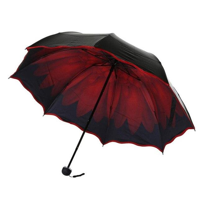 80d6a9814dc9 US $7.53 42% OFF|Large Color Flower Folding Rain Umbrella Black Outside  Travel Parasol Anti UV Sun Umbrellas Foldable Space Save Windproof  Colors-in ...