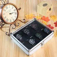 12 Grids Watch Aluminum Alloy Storage Box Durable Lockable Wristband Holder Jewelry Watches Organizer Clock Display Showcase Box