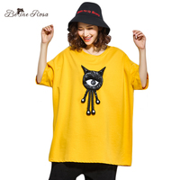 BelineRosa 3XL 4XL Large Size Women Clothing Big 3D Cartoon Appliques T shirts Kawaii Tee Shirts for Women TYW00860
