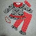 Niñas bebés v-day ropa niñas Damasco de Valentiens días trajes con rojo de lunares pant niños boutique de ropa con accessorei