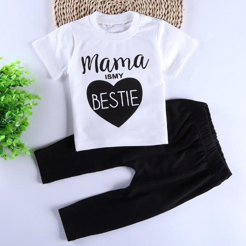 2017 spring infant clothes baby clothing sets boy Cotton mama is my bestie short sleeve t shirt+pants baby girl clothes R2-16H lonsant 2017 children set kids baby boy clothes sets gentleman rompers pants suit long sleeve baby boy clothes set dropshipping