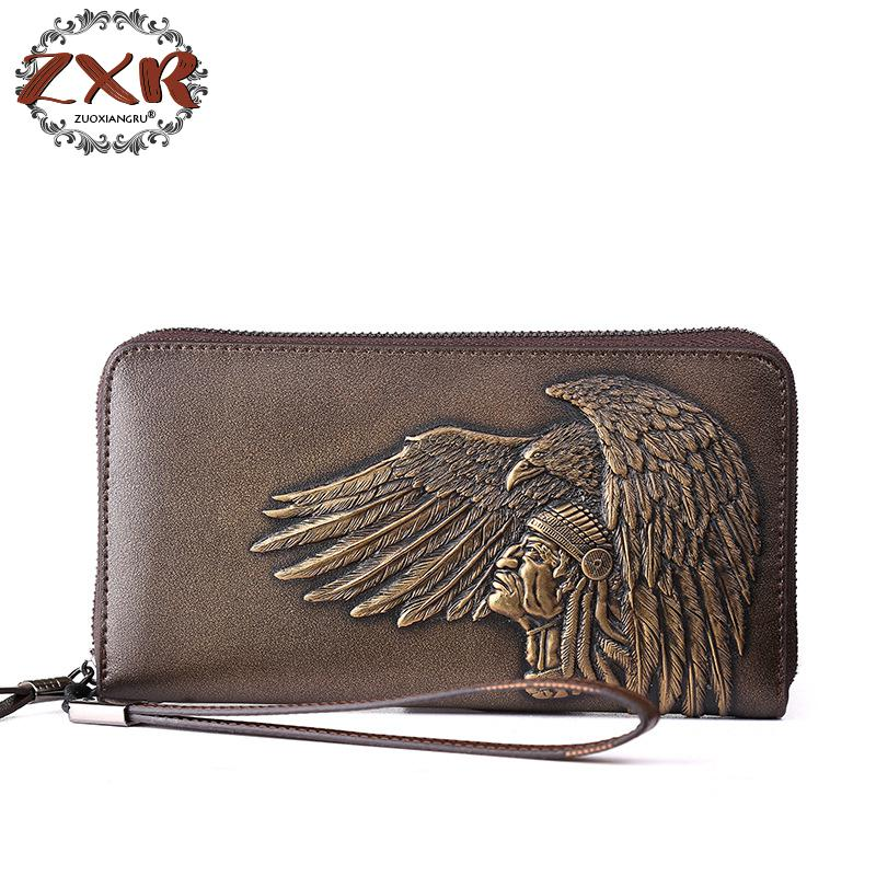 New Men Top Genuine Leather Embossing Eagle Style Long Wallets Male Clutch Purse For Men Bags