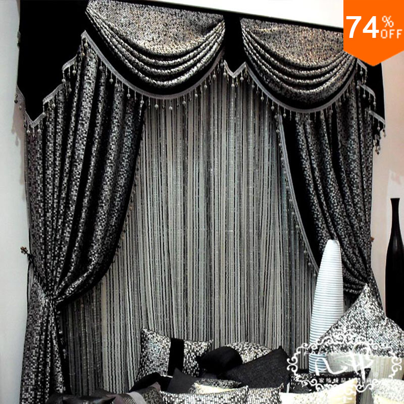 Helen Curtain European Style Grey Black Jacquard Curtain For living ...