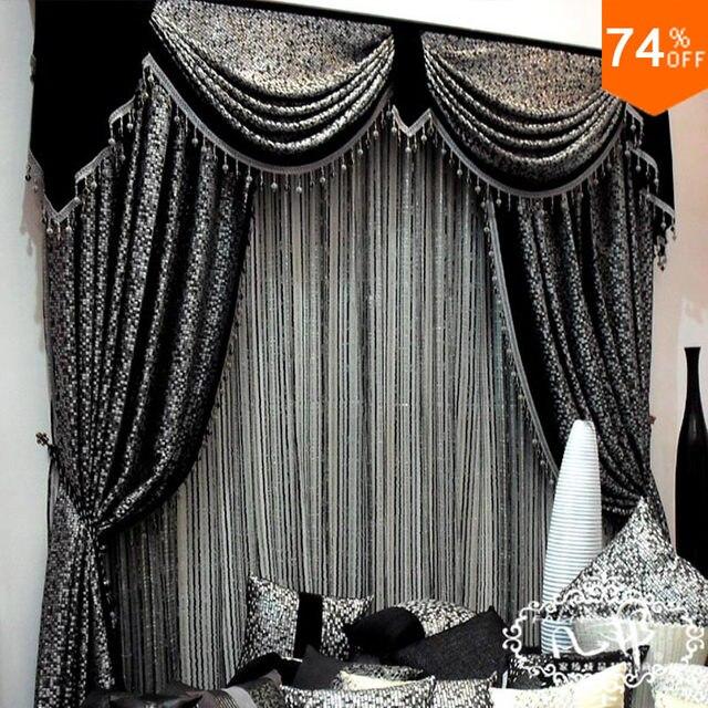 Superbe Mosaic Grid Black Mosaic Mark Embroid Black Curtains Mosained Tiles Curtain  Classic Design Elegant Bedroom Curtain Hook Style