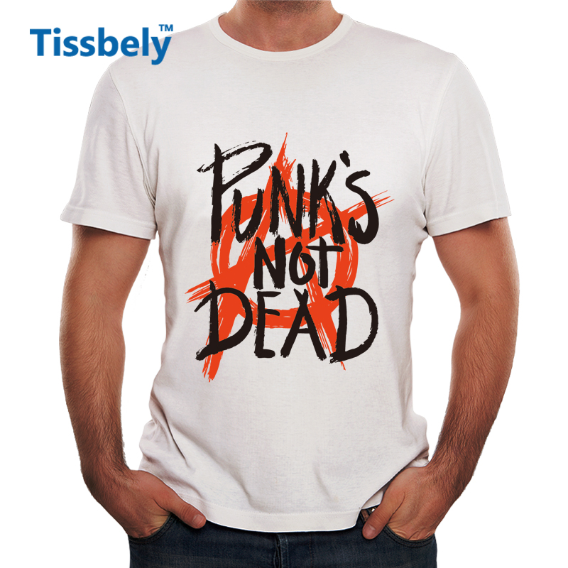 Tissbely Punk Anarchy T Shirt Men Punks not Dead Print Short Sleeve White Tees Men Street Style Sketch Rock Tops