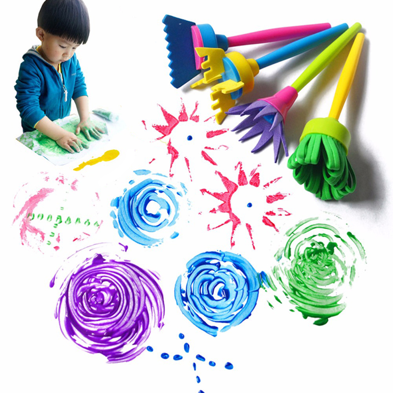 4Pcs/set Simple DIY Sponge Drawing Paint Brushes Set Kids Painting Graffiti Toys Creative Gift For Children School Stationery