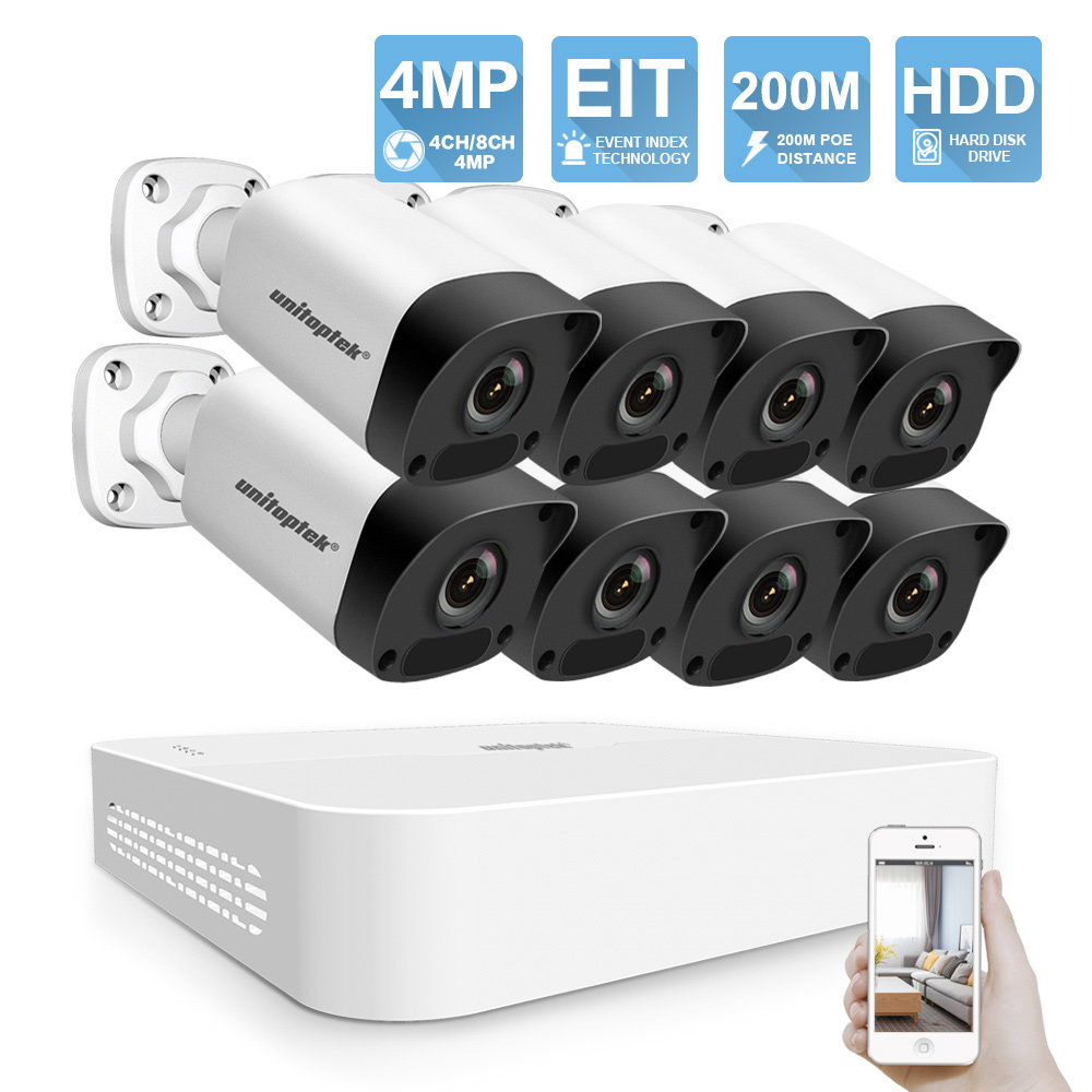 4CH 8CH 4MP H.265 POE NVR Kit CCTV Sistema de Câmera HD Câmera de Segurança IP POE 200 M Distância 52 4MP V Sistema de Vigilância de Vídeo Set