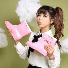 Changyuge Мода бантом дождь Ботинки Водонепроницаемый Туфли без каблуков резиновые непромокаемые сапоги женские Демисезонный бежевый серый розовый для Обувь для девочек дождь Ботинки