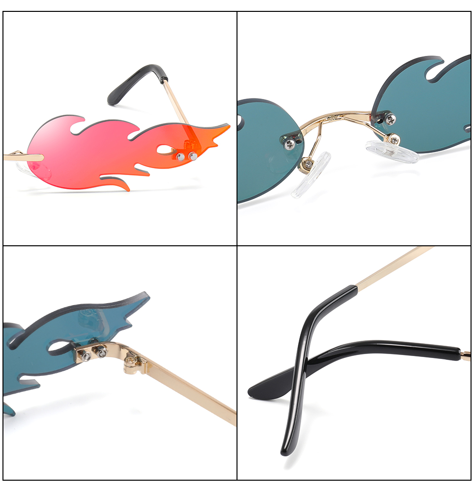 New 2019 Fashion Fire Flame Sunglasses Women Men Rimless Wave Sun Glasses Eyewear Luxury Trending Narrow Sunglasses Streetwear in Women 39 s Sunglasses from Apparel Accessories