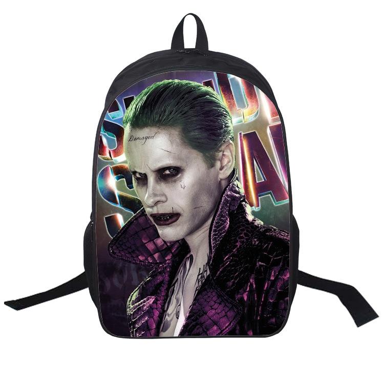 Nouveau mode femmes 3D Cartoon impression école sac à dos pour adolescente Suicide Squad sac à dos garçons étudiant sac à dos mochila esco