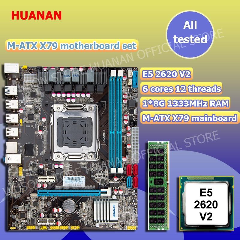 цены New arrival HUANAN X79 motherboard CPU memory combos X79 LGA2011 motherboard CPU Intel xeon E5 2620 V2 RAM 8G DDR3 REG ECC
