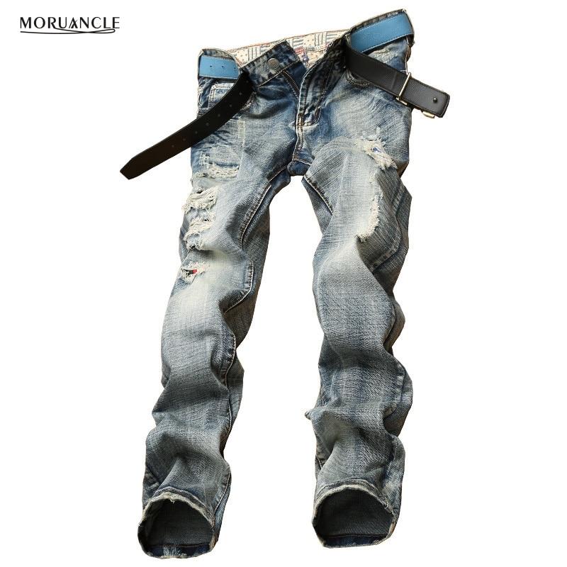 Fashion Vintage Mens Ripped Jeans Pants Slim Fit Distressed Denim Joggers Brand Designer Destroyed Torn Jeans