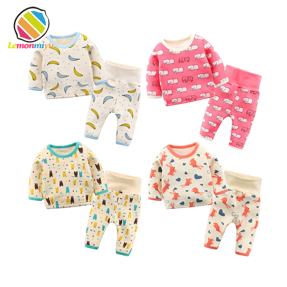 Lemonmiyu Baby Cotton Pajama Sets 2pcs/set 0-24M T shirt + Pants Kids Sleepwear Full Sleeve Newborn Boy Girl Sets Casual Infant