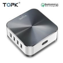 TOPK 50W Quick Charge 3.0 USB Charger 8 Port USB Mobile Phone Desktop Fast Charger for iPhone Samsung Xiaomi EU US UK Plug